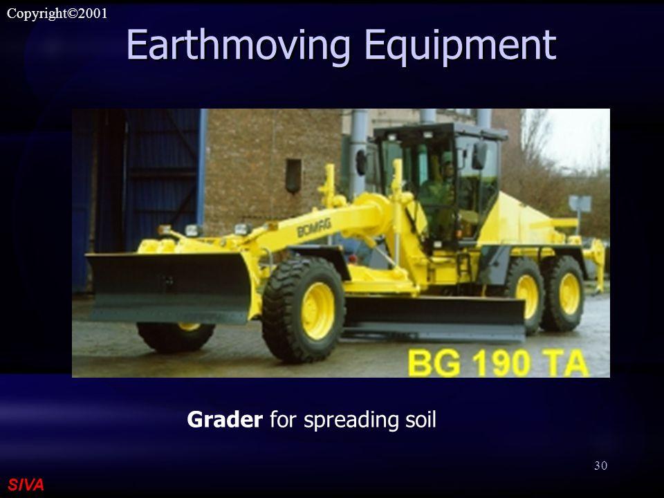SIVA Copyright©2001 30 Earthmoving Equipment Grader for spreading soil