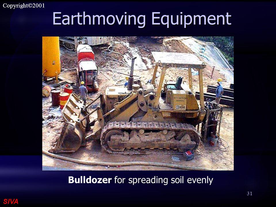 SIVA Copyright©2001 31 Earthmoving Equipment Bulldozer for spreading soil evenly