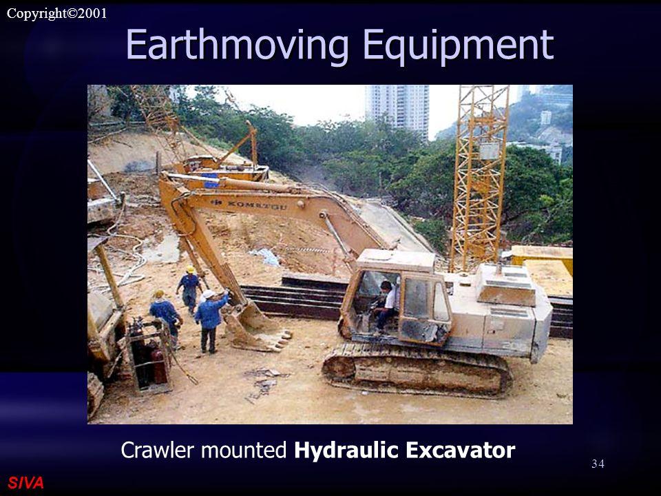 SIVA Copyright©2001 34 Earthmoving Equipment Crawler mounted Hydraulic Excavator