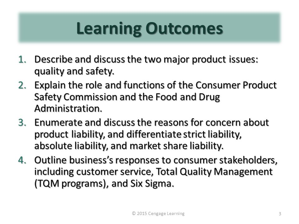 Learning Outcomes 1.Describe and discuss the two major product issues: quality and safety.