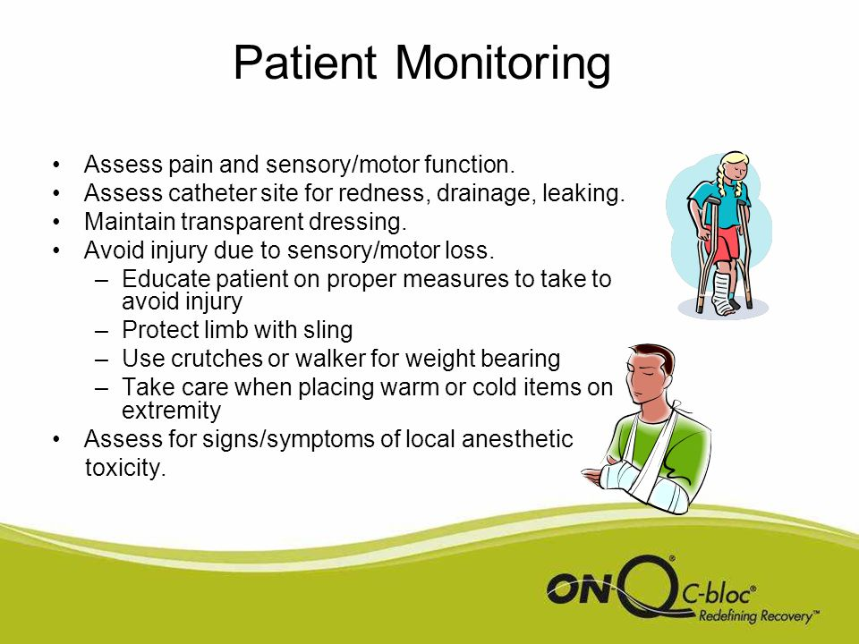 Patient Monitoring When assessing pain, ask patient location of pain to differentiate between operative site pain and other types of pain.