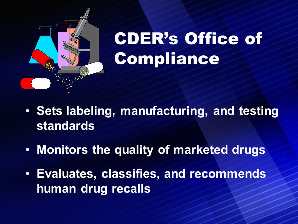 CDER's Office of Compliance Sets labeling, manufacturing, and testing standards Monitors the quality of marketed drugs Evaluates, classifies, and reco