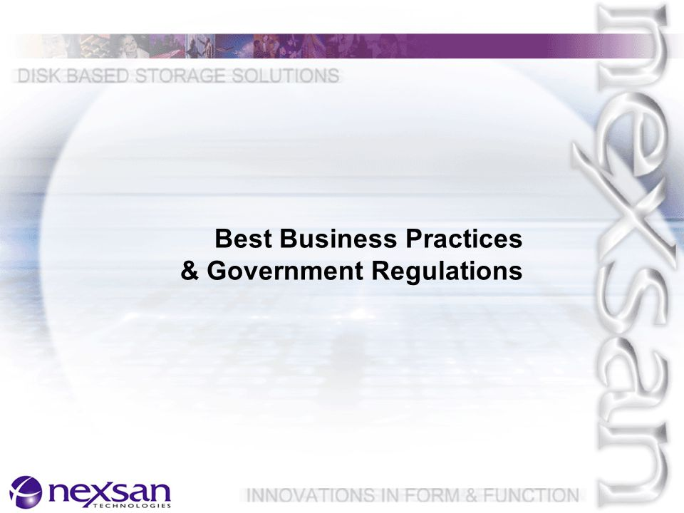 Best Business Practices & Government Regulations