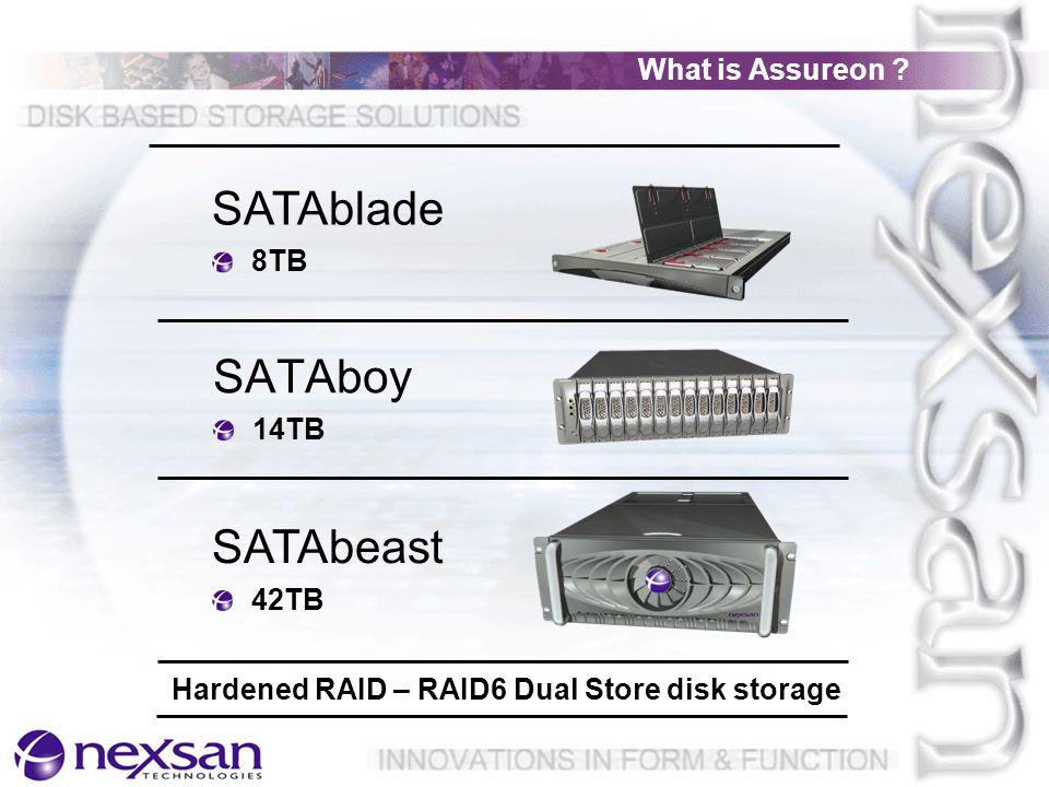 SATAboy 14TB SATAbeast 42TB SATAblade 8TB Hardened RAID – RAID6 Dual Store disk storage What is Assureon ?