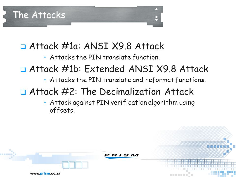 The Attacks  Attack #1a: ANSI X9.8 Attack Attacks the PIN translate function.  Attack #1b: Extended ANSI X9.8 Attack Attacks the PIN translate and r