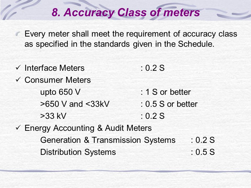 8. Accuracy Class of meters Every meter shall meet the requirement of accuracy class as specified in the standards given in the Schedule. Interface Me