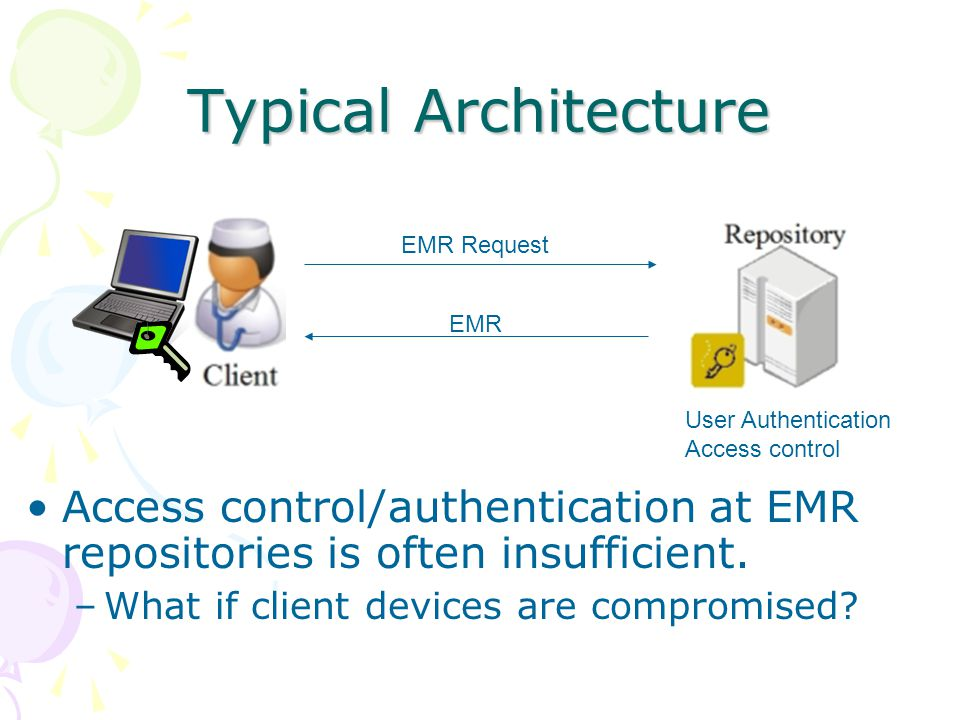 Typical Architecture EMR Request EMR User Authentication Access control Access control/authentication at EMR repositories is often insufficient.