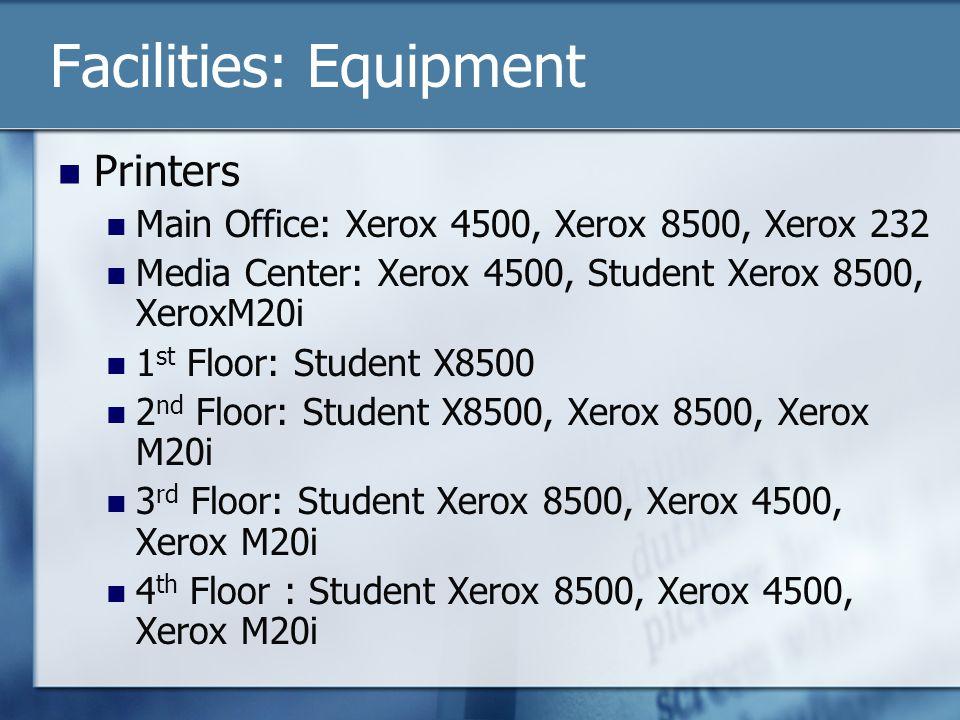 Facilities: Equipment Printers Main Office: Xerox 4500, Xerox 8500, Xerox 232 Media Center: Xerox 4500, Student Xerox 8500, XeroxM20i 1 st Floor: Student X8500 2 nd Floor: Student X8500, Xerox 8500, Xerox M20i 3 rd Floor: Student Xerox 8500, Xerox 4500, Xerox M20i 4 th Floor : Student Xerox 8500, Xerox 4500, Xerox M20i
