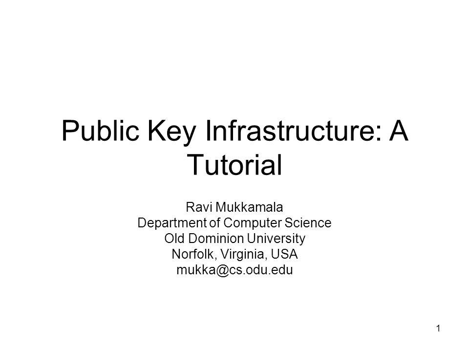 1 Public Key Infrastructure: A Tutorial Ravi Mukkamala Department of Computer Science Old Dominion University Norfolk, Virginia, USA mukka@cs.odu.edu