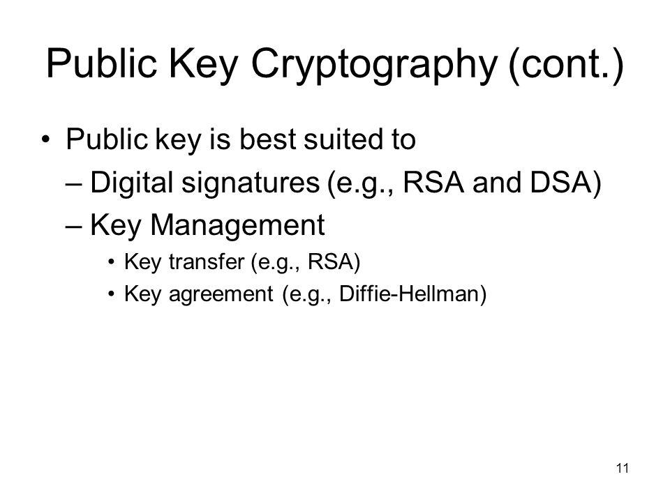 11 Public Key Cryptography (cont.) Public key is best suited to – Digital signatures (e.g., RSA and DSA) – Key Management Key transfer (e.g., RSA) Key