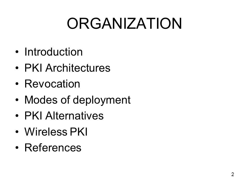 2 ORGANIZATION Introduction PKI Architectures Revocation Modes of deployment PKI Alternatives Wireless PKI References