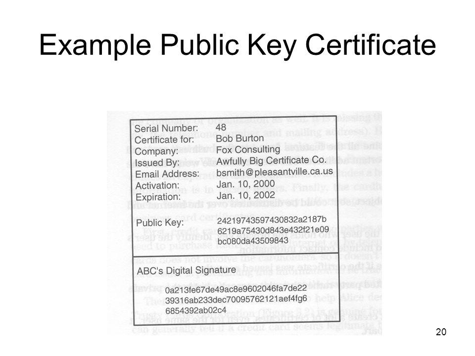 20 Example Public Key Certificate