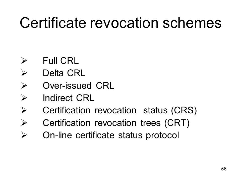 56 Certificate revocation schemes  Full CRL  Delta CRL  Over-issued CRL  Indirect CRL  Certification revocation status (CRS)  Certification revo