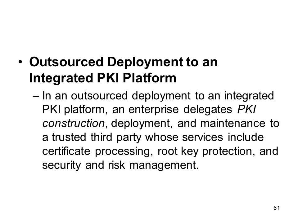 61 Outsourced Deployment to an Integrated PKI Platform –In an outsourced deployment to an integrated PKI platform, an enterprise delegates PKI constru