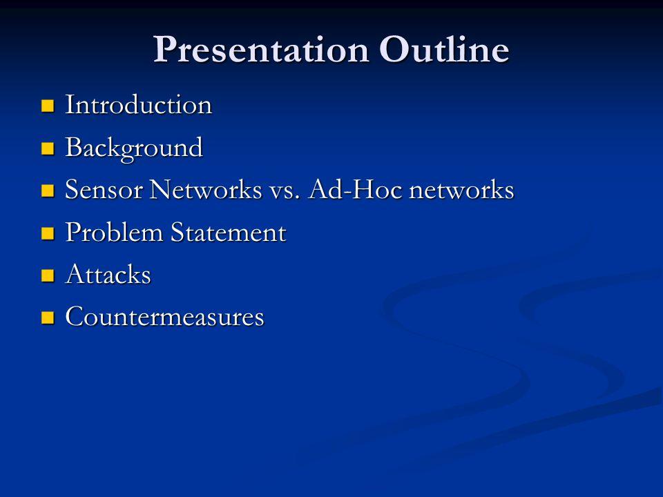 Presentation Outline Introduction Introduction Background Background Sensor Networks vs. Ad-Hoc networks Sensor Networks vs. Ad-Hoc networks Problem S
