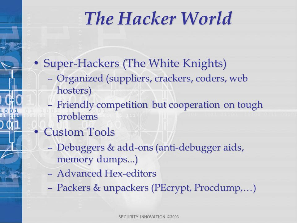 SECURITY INNOVATION ©2003 The Hacker World Super-Hackers (The White Knights)Super-Hackers (The White Knights) –Organized (suppliers, crackers, coders,