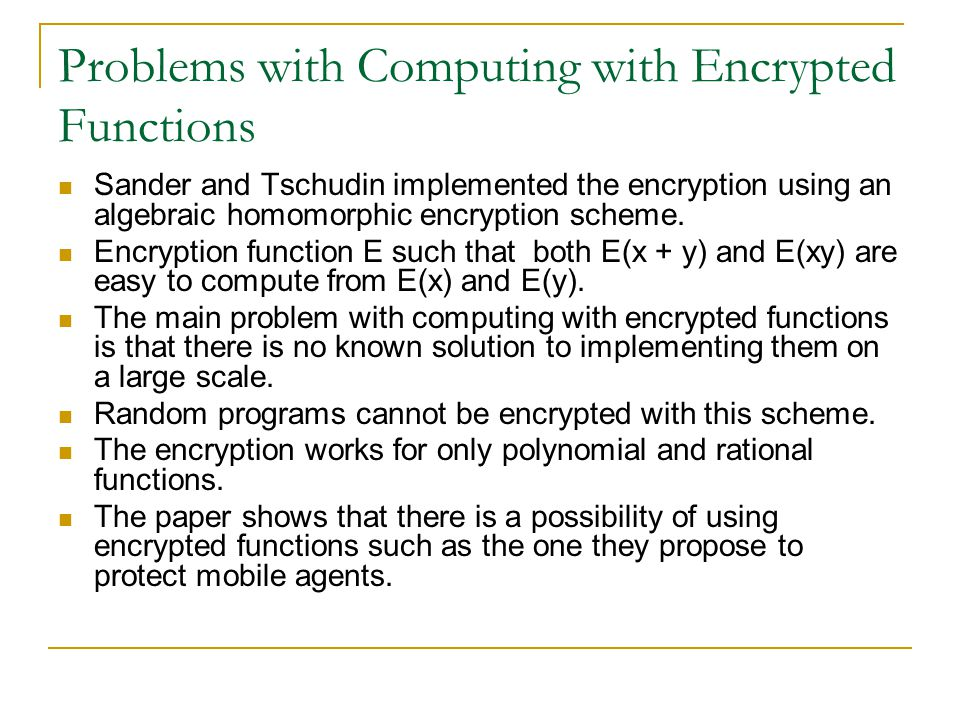 Problems with Computing with Encrypted Functions Sander and Tschudin implemented the encryption using an algebraic homomorphic encryption scheme.