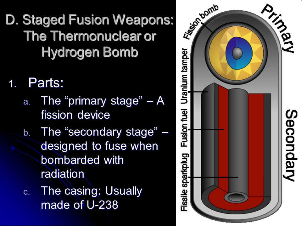 D. Staged Fusion Weapons: The Thermonuclear or Hydrogen Bomb 1.