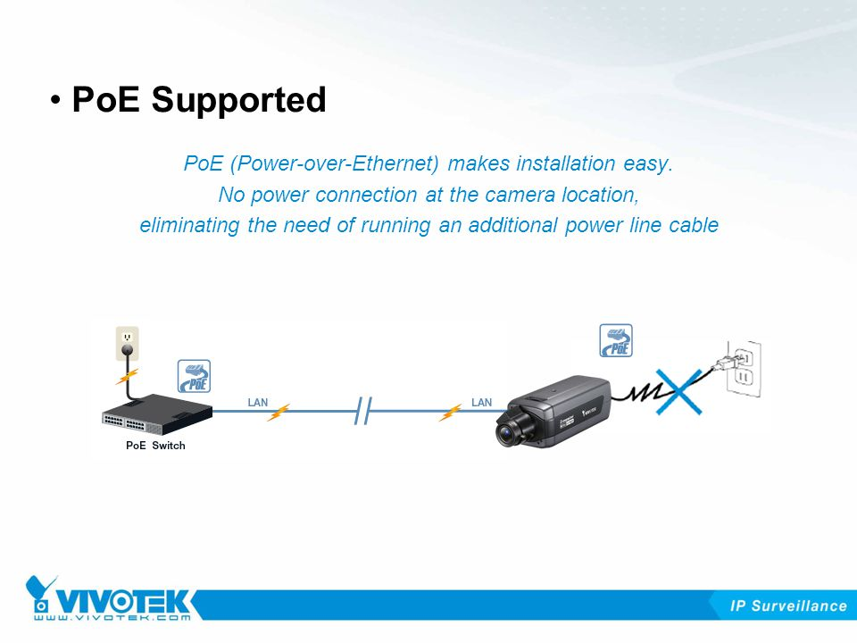 PoE (Power-over-Ethernet) makes installation easy.