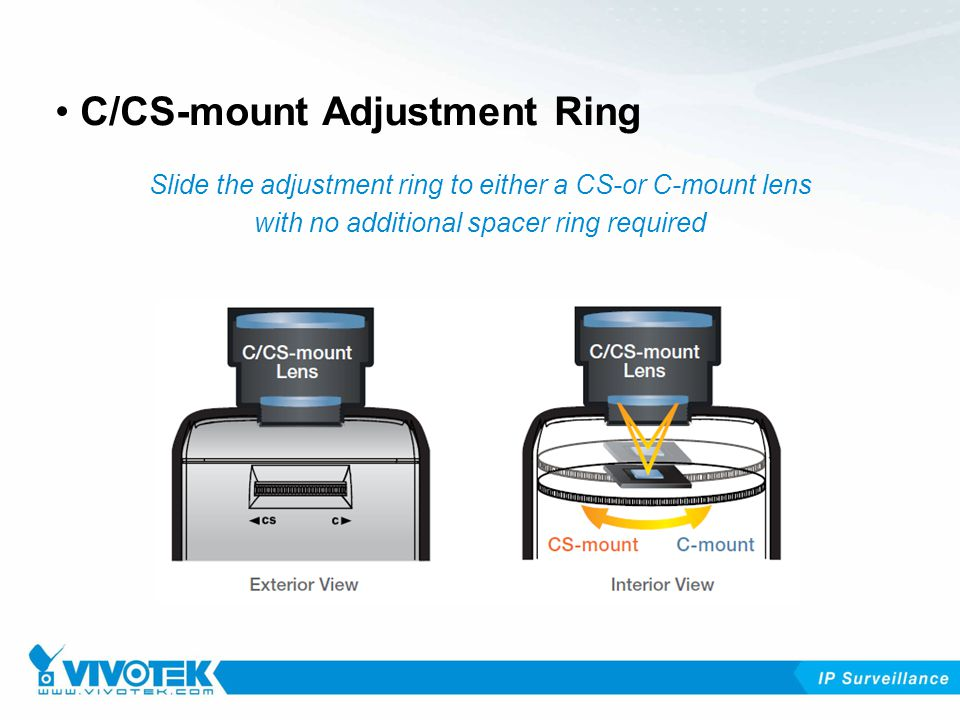 C/CS-mount Adjustment Ring Slide the adjustment ring to either a CS-or C-mount lens with no additional spacer ring required