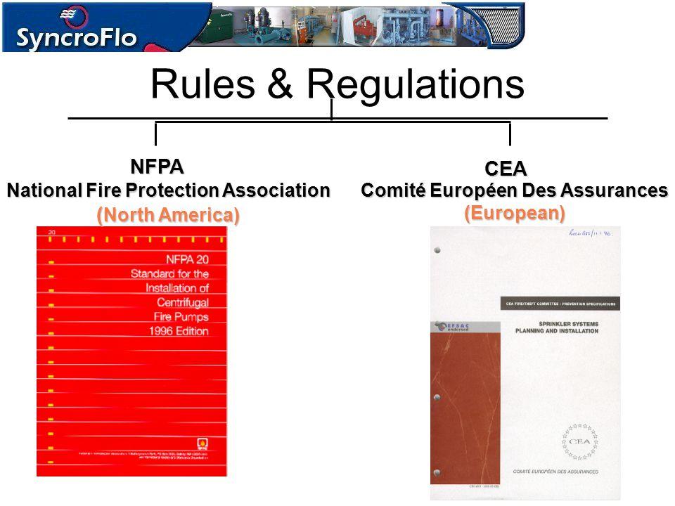 Rules & Regulations NFPA CEA Comité Européen Des Assurances (European) National Fire Protection Association ( North America)