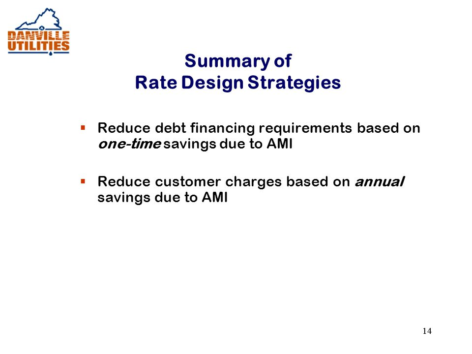 14 Summary of Rate Design Strategies  Reduce debt financing requirements based on one-time savings due to AMI  Reduce customer charges based on annual savings due to AMI