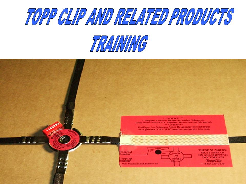 TOPP CLIPS ARE SUPPLIED IN TWO FORMATS; THE REGULAR BOX OF 200 CLIPS (4 PACKS OF 50) TOPP PLASTIC MOLDED SEALS AND TOPP LABELS AND THE STARTER KIT.