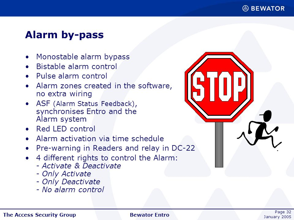 The Access Security Group January 2005 Bewator Entro Page 32 Alarm by-pass Monostable alarm bypass Bistable alarm control Pulse alarm control Alarm zo