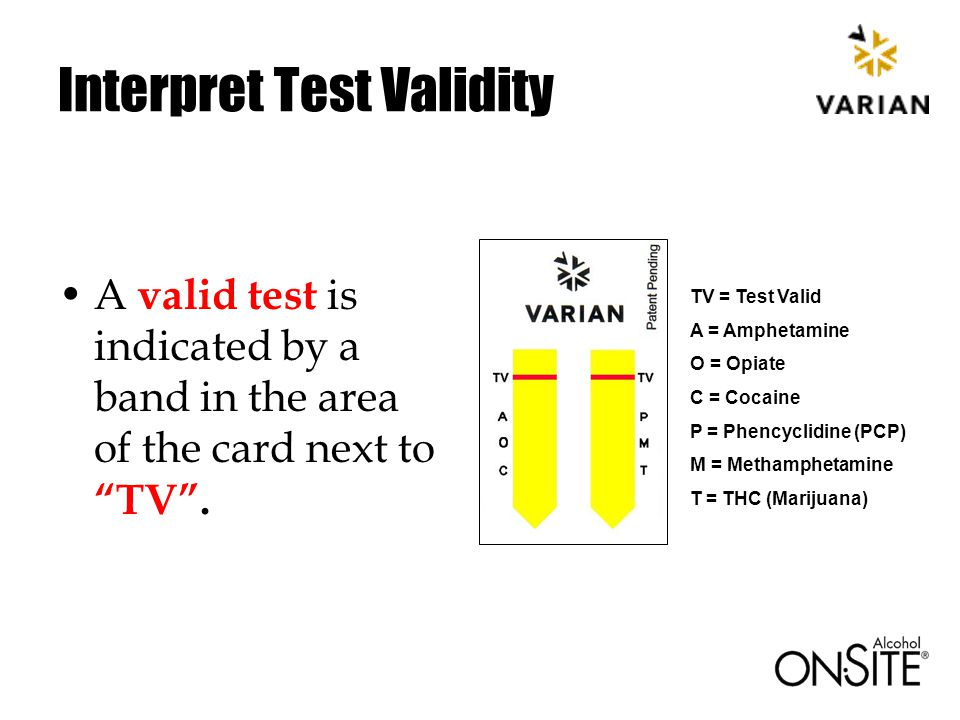 Interpret Test Validity A valid test is indicated by a band in the area of the card next to TV .