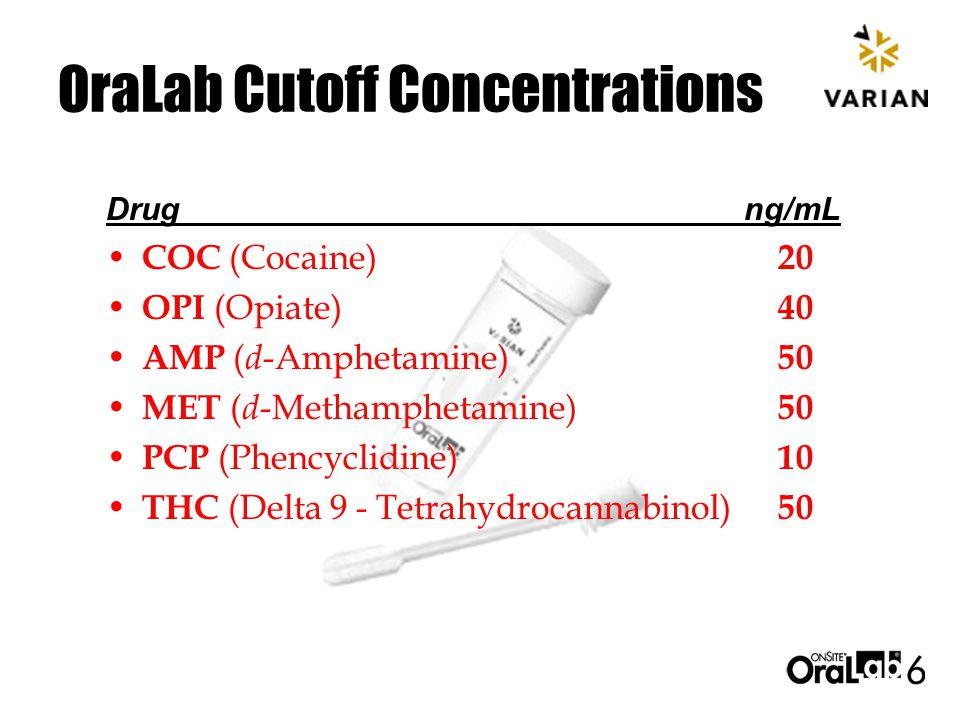OraLab Cutoff Concentrations COC (Cocaine) 20 OPI (Opiate) 40 AMP ( d -Amphetamine) 50 MET ( d -Methamphetamine) 50 PCP (Phencyclidine) 10 THC (Delta