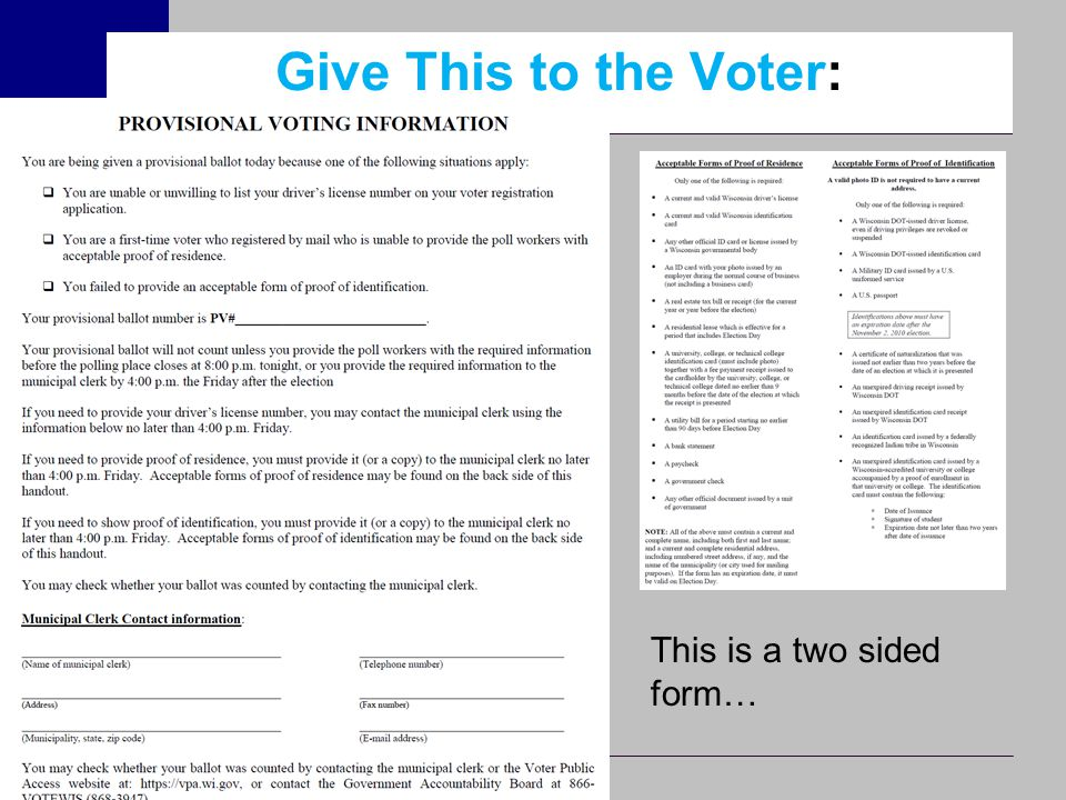 Give This to the Voter: This is a two sided form…