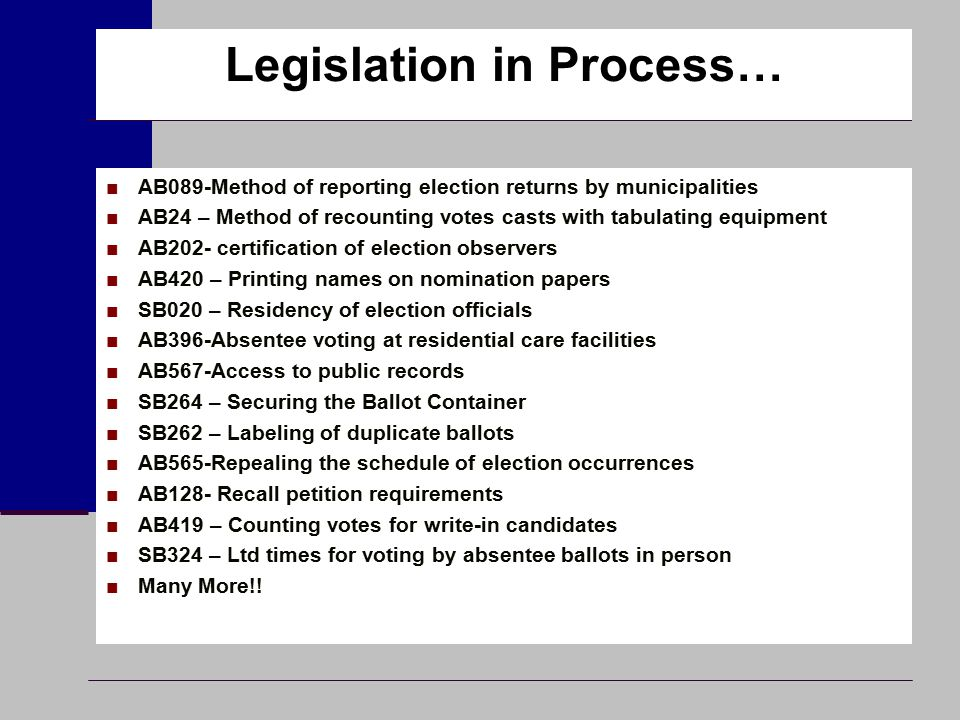Legislation in Process… ■AB089-Method of reporting election returns by municipalities ■AB24 – Method of recounting votes casts with tabulating equipme