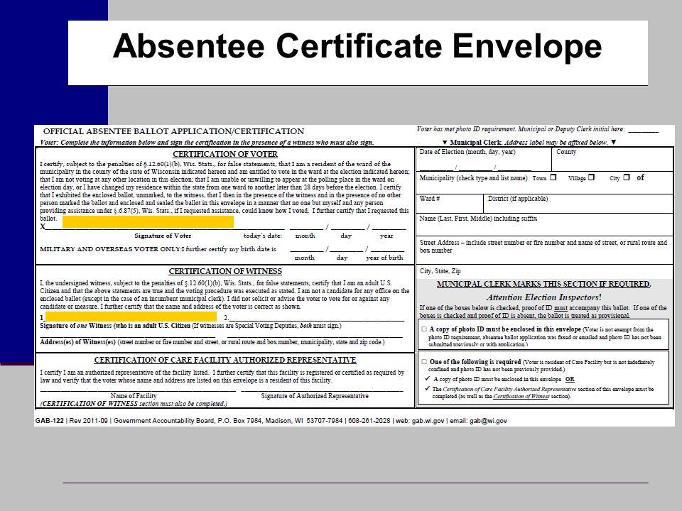 Absentee Certificate Envelope