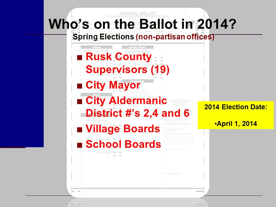 Who's on the Ballot in 2014.Fall Elections (partisan offices) ■Rep.
