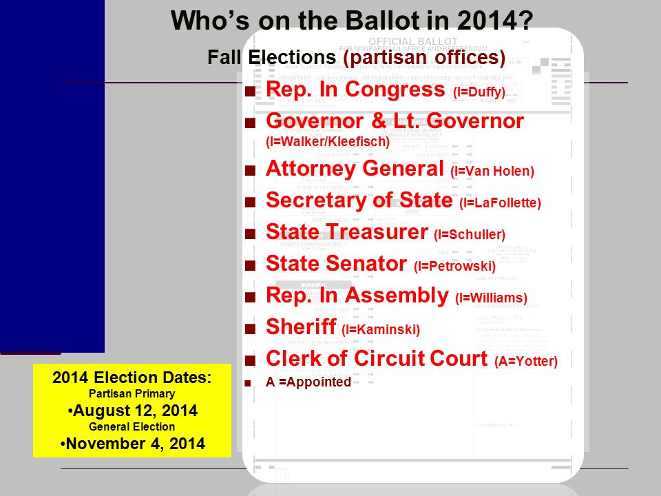 Who's on the Ballot in 2014? Fall Elections (partisan offices) ■Rep. In Congress (I=Duffy) ■Governor & Lt. Governor (I=Walker/Kleefisch) ■Attorney Gen