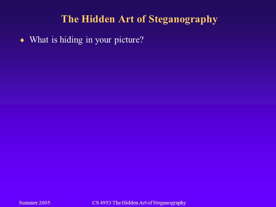Summer 2005CS 4953 The Hidden Art of Steganography The Hidden Art of Steganography  What is hiding in your picture?