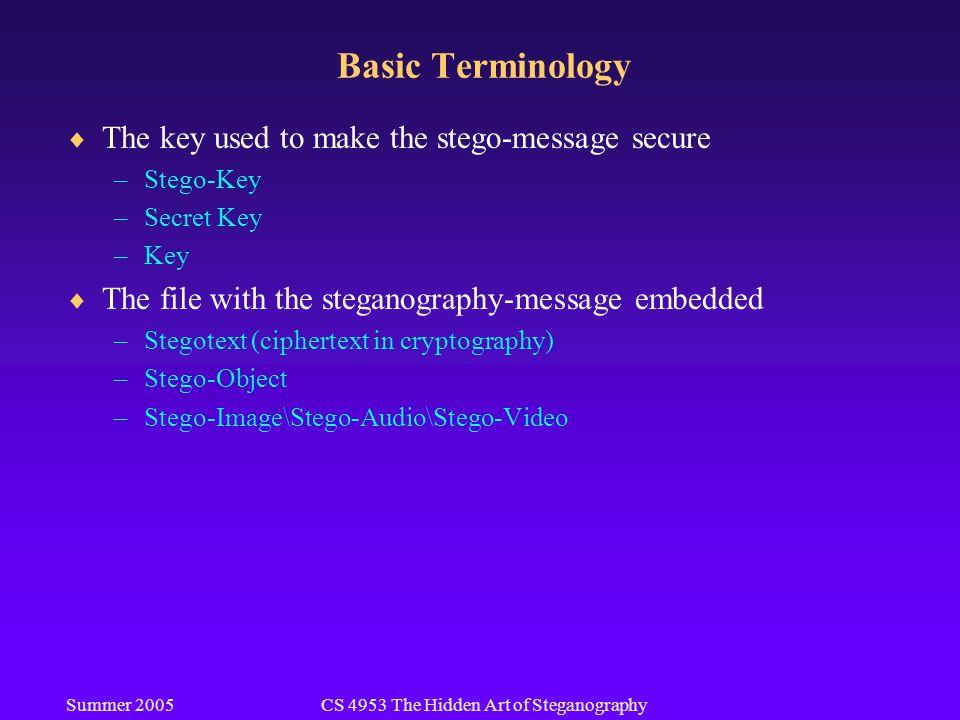 Summer 2005CS 4953 The Hidden Art of Steganography Basic Terminology  The key used to make the stego-message secure –Stego-Key –Secret Key –Key  The file with the steganography-message embedded –Stegotext (ciphertext in cryptography) –Stego-Object –Stego-Image\Stego-Audio\Stego-Video