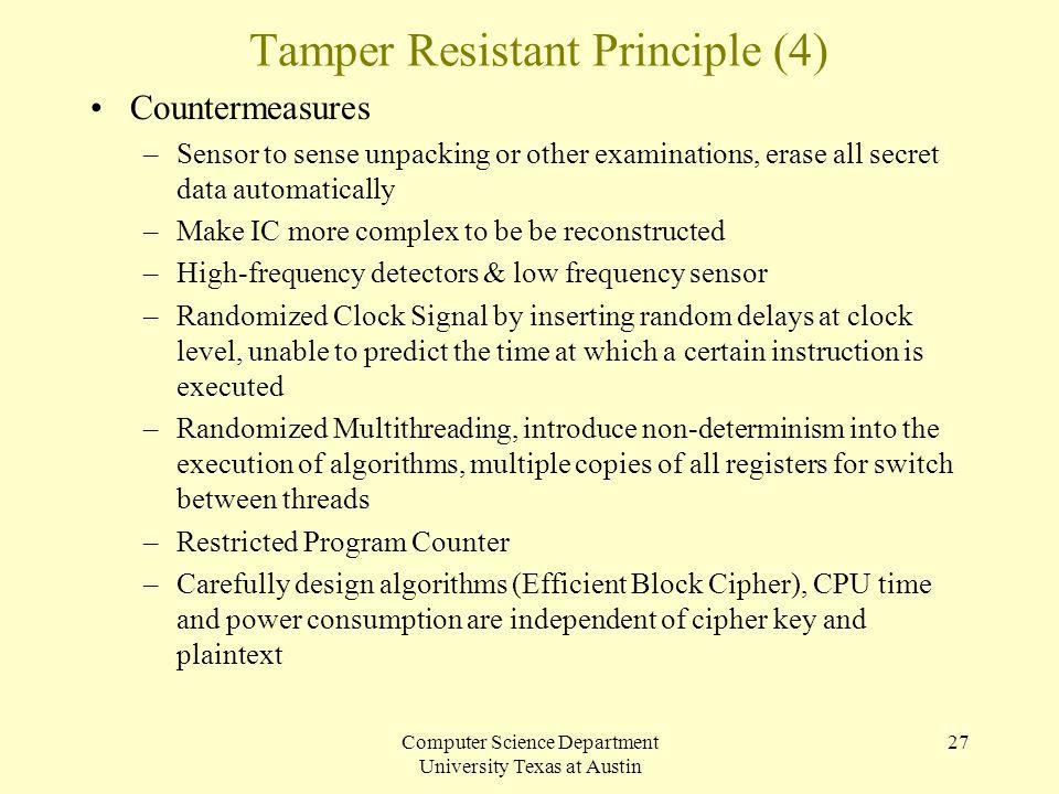 Computer Science Department University Texas at Austin 27 Tamper Resistant Principle (4) Countermeasures –Sensor to sense unpacking or other examinati