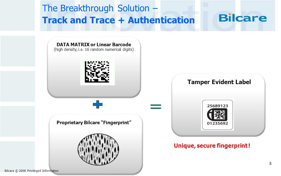 "The Breakthrough Solution – Track and Trace + Authentication Tamper Evident Label Proprietary Bilcare ""Fingerprint"" Unique, secure fingerprint ! DATA"