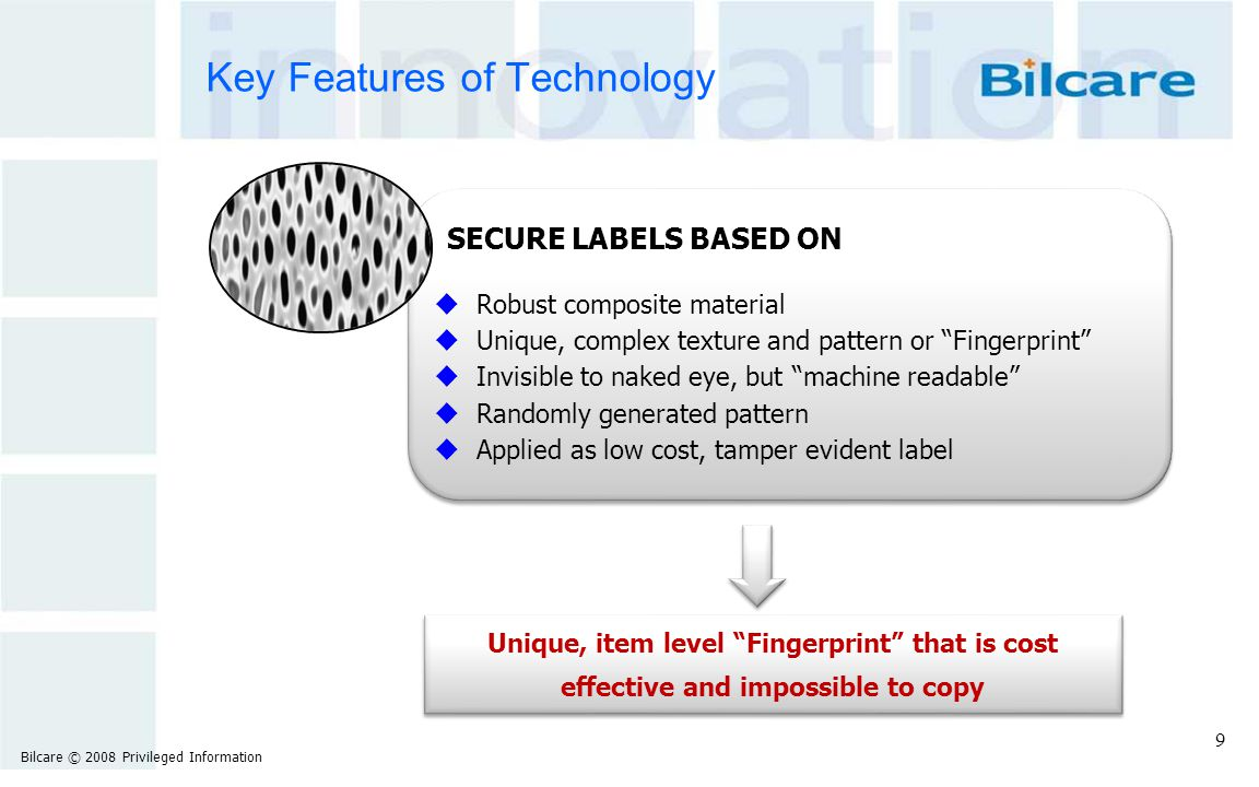 """Key Features of Technology SECURE LABELS BASED ON u Robust composite material u Unique, complex texture and pattern or """"Fingerprint"""" u Invisible to na"""