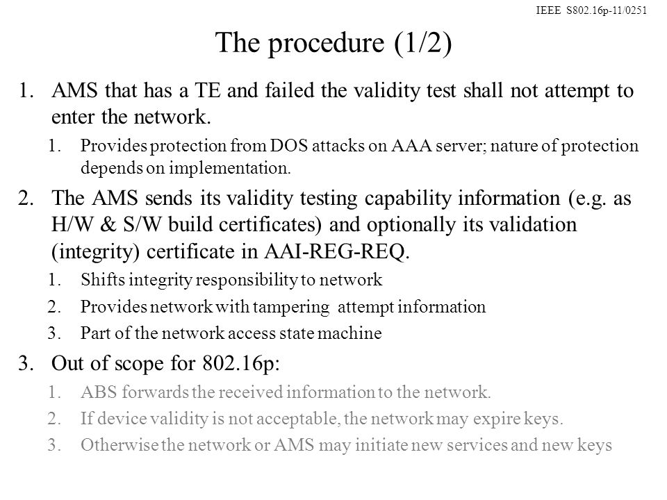 IEEE S802.16p-11/0251 The procedure (1/2) 1.AMS that has a TE and failed the validity test shall not attempt to enter the network.