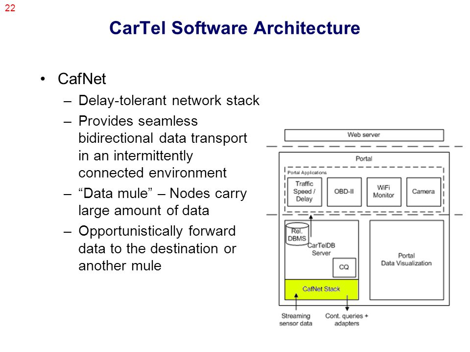 22 CarTel Software Architecture CafNet –Delay-tolerant network stack –Provides seamless bidirectional data transport in an intermittently connected environment – Data mule – Nodes carry large amount of data –Opportunistically forward data to the destination or another mule