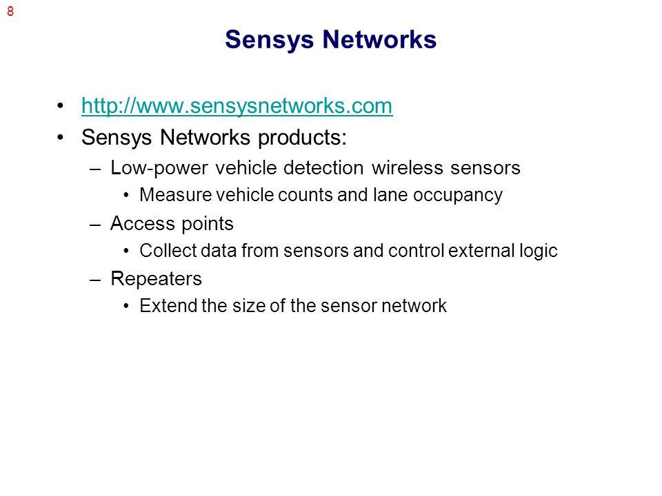 9 Sensys Networks VSN240 Wireless Sensor –Magneto resistive sensor to measure X, Y, Z components of magnetic field.