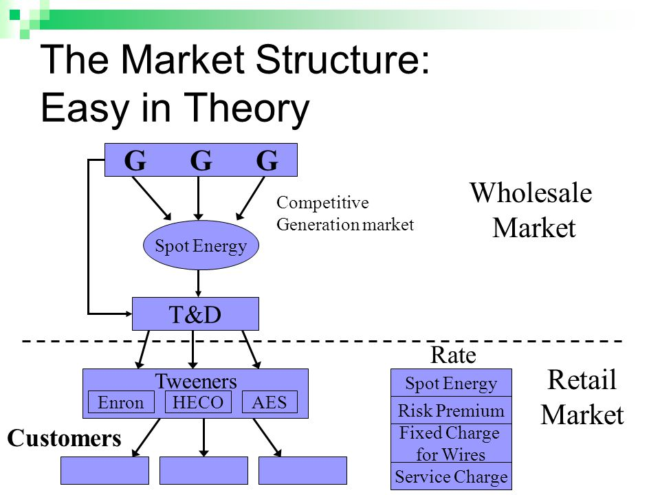 The Market Structure: Easy in Theory GGGGGG Spot Energy T&D Tweeners EnronHECOAES Competitive Generation market Wholesale Market Retail Market Customers Spot Energy Risk Premium Fixed Charge for Wires Service Charge Rate
