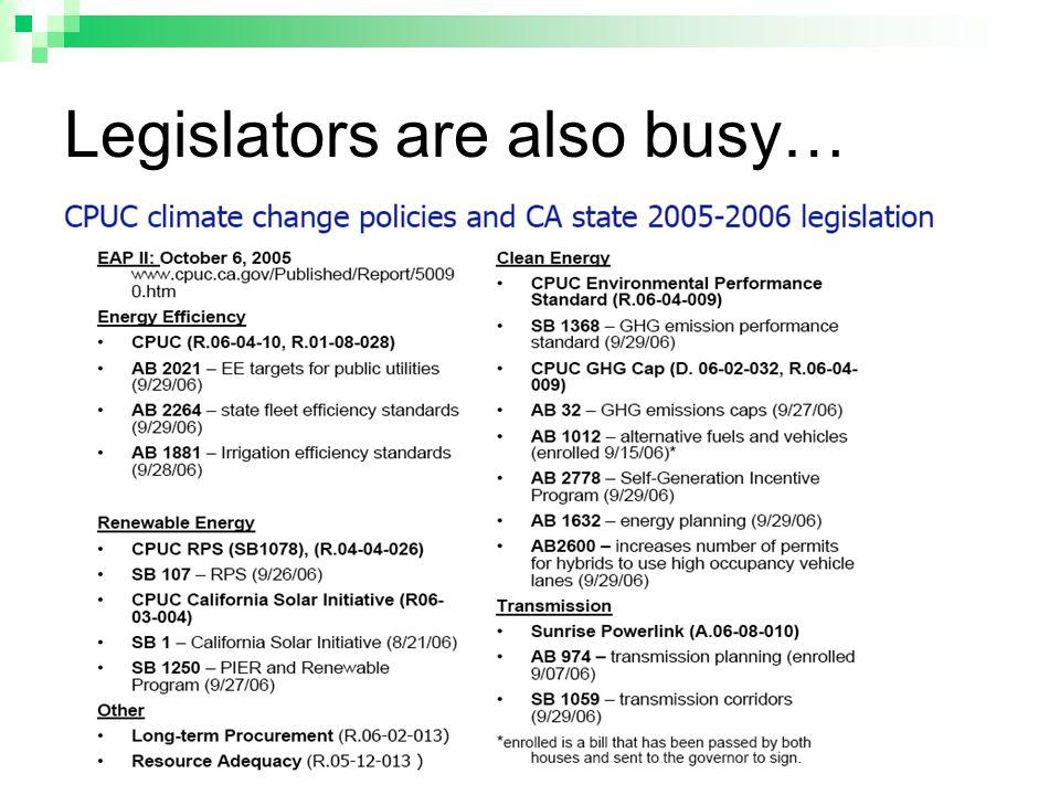 Legislators are also busy…