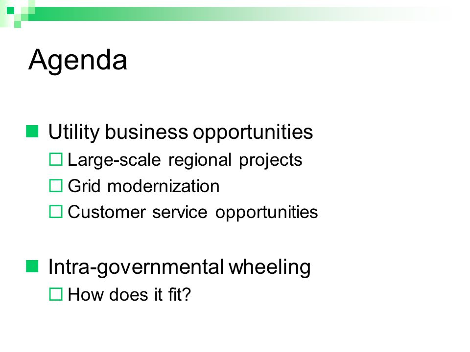 Agenda Utility business opportunities  Large-scale regional projects  Grid modernization  Customer service opportunities Intra-governmental wheeling  How does it fit?