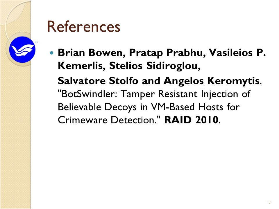 References Brian Bowen, Pratap Prabhu, Vasileios P.
