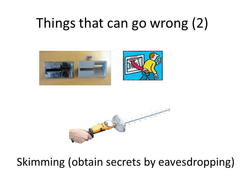 Things that can go wrong (2) Skimming (obtain secrets by eavesdropping)