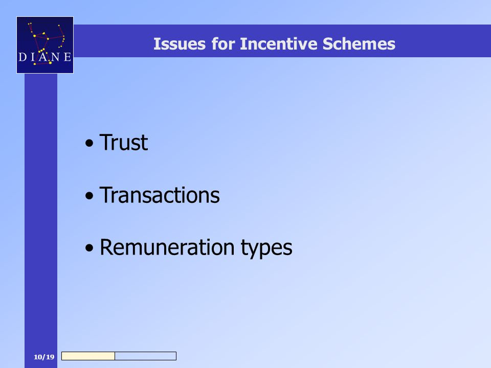 10/19 Issues for Incentive Schemes Trust Transactions Remuneration types