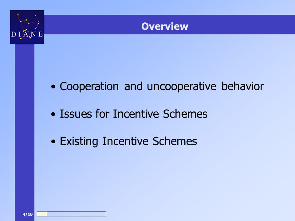 4/19 Overview Cooperation and uncooperative behavior Issues for Incentive Schemes Existing Incentive Schemes